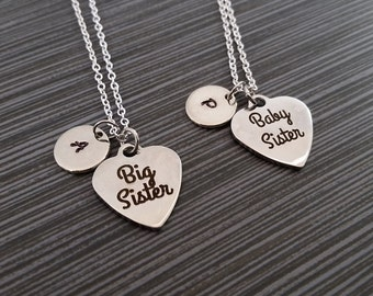 Two Sister Necklaces - Big Sister Necklace - Baby Sister Personalized Necklace - Custom Gift - Initial Necklace - Big Little Sister Gift