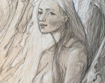 leaf fae portrait  by Renae Taylor (original drawing)