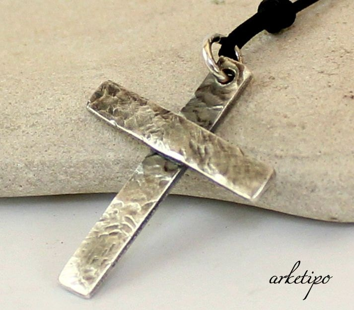 Personalized hammered sterling silver cross necklace with zoom aloadofball Choice Image