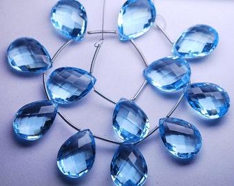 3 Matched Pair,SKY Blue Quartz Faceted Pear Shape Briolette, Size 13x18mm