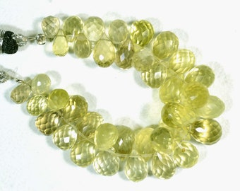4 Inches Natural Lemon Quartz Teardrops 4x7mm to 7x12mm Tear Drop Beads Faceted Gemstone Beads Lemon Briolettes Semi Precious Beads No552