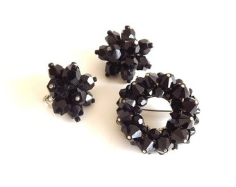 Vintage Brooch Earrings Jewelry Set Demi Antique Black Jet Glass Signed Japan Accessories