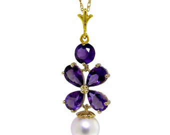 14K. solid gold  necklace WITH AMETHYST & PEARL rose/white/yellow gold