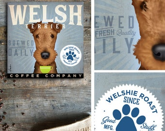 Welsh Terrier dog coffee company illustration on gallery wrapped canvas by Stephen Fowler geministudio