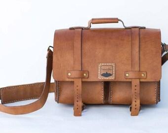 Medium Handmade Full Grain Leather Messenger Satchel / Briefcase