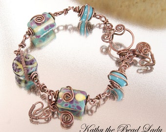 SALE****Lampwork Copper Wire Wrapped Bracelet-KTBL