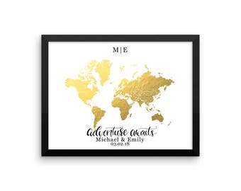 Map guest book etsy framed wedding guestbook world map guest book wedding map gold foil map gumiabroncs Image collections