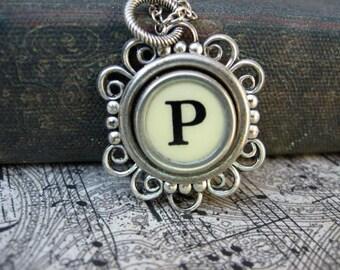 Antique Typewriter Key Necklace Initial P