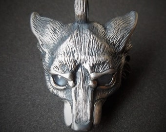 Wolf Necklace, sterling silver wolf pendant, moonstone wolfs head and chain.