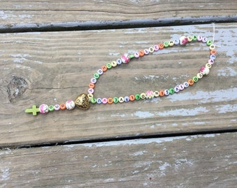Our Father Helper Rosary with roses and pastel letters