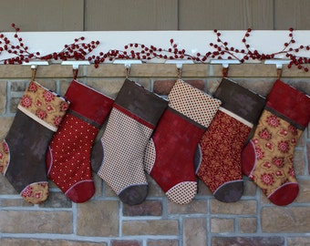 Personalized Christmas Stockings for the Family. Fully Lined, Best Quality. Cozy Reds and Browns Perfect Gift. Embroidered Tag too!