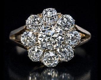 Antique 2.24 Cttw Diamond Cluster Engagement Ring