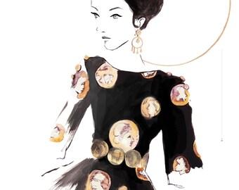 Dolce and Gabbana SS14  Art Print, Fashion Illustration, Fashion Sketch, Watercolour Illustration