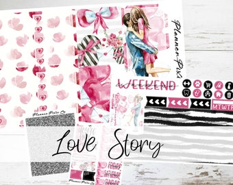 """Mini Kit // Weekly Sticker Kit // For Use With Erin Condren Life Planner // """"Love Story"""""""