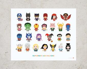 ABC Block Superfufu Art Print 16 x 20 // Kids Wall Art Superhero Nursery Decor Baby Shower Gift A to Z