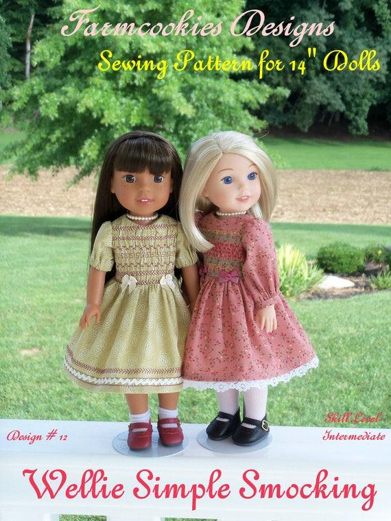 "Printed Sewing Pattern: WELLIE SIMPLE SMOCKING /Pattern Fits 14"" American Girl  Wellie Wishers®"