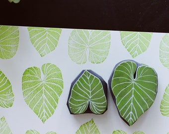 Tropical leaf hand carved rubber stamps.philodendron gloriosum leaf stamp.Unmounted