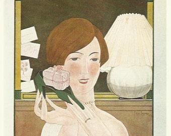 Impression de Vogue 1924 par Lepape Dame fille Noël cadeau miroir Invitations mode Illustration Vogue Art déco Home Decor impression Fine Art