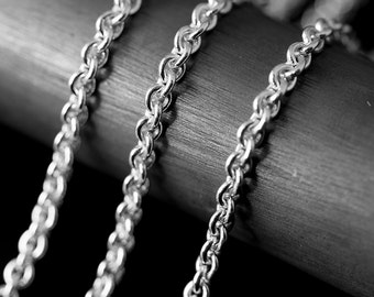 By The Inch Cable Argentium Sterling Silver 935 Chain 2.8 mm UNFINISHED NO CLASP