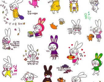 Rabbit stickers 1 washi for bullet journal or scrapbooking