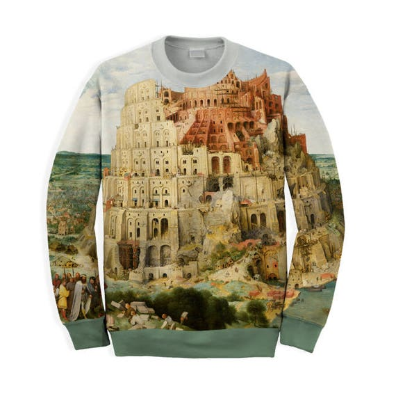 Unique unisex t-shirt with full print of painting Bruegel The Tower of Babel gift for her gift for him gift ideas 09Teeh
