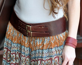 Classic wide leather belt, womens leather belt, brown leather belt, double buckle, bronze buckle, belt for woman, original design.
