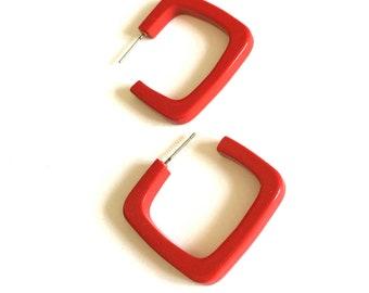 Red Hoop Earrings | Cherry Red Quad Hoops | vintage lucite hoop earrings on posts