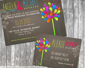 Rainbow Wedding Invitation Modern Wedding Invite Colorful Wedding Invitation and RSVP Suite DIY Wedding Invitation Printable