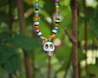 Colorful Beaded Skull Necklace