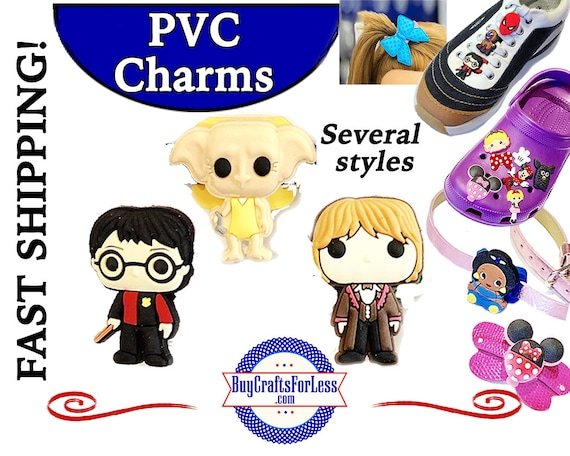 PVC Charms, Harry Potter* 20% OFF Any 4 PVC Charms * 1.99 Shipping *For Shoes, Hair, Pins-Choose back-Button, Pin, Slider, Hair Clip, Velcro