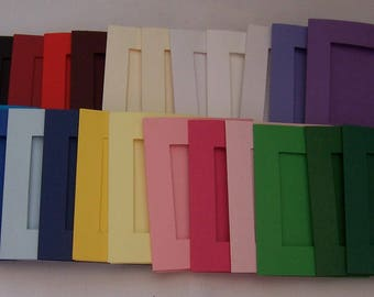 Five Oblong Aperture Cards 4.5 x 3.5 inches, Assorted mixed colours , greeting cards blanks with 5 white envelopes, Aperture cards