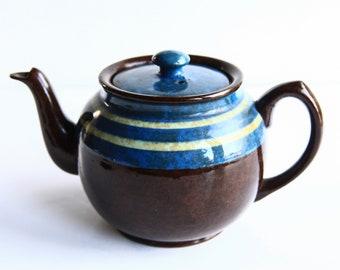 Rare Blue Lidded Brown Betty Sadler Teapot ~ English Earthenware ~ Vintage Teapots ~ Stadffordshire England ~ Country Farmhouse Kitchen