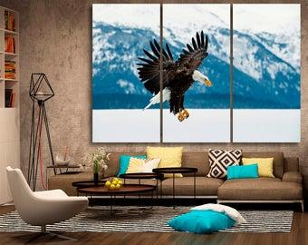 Flying bald eagle Eagle canvas wall art Eagle wall decoration Eagle canvas wall art art Eagle large canvas wall art wall decor