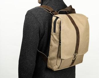 "Cotton canvas 15"" Laptop Backpack  - Vegan Laptop Backpack - Roxanna in Kahki"