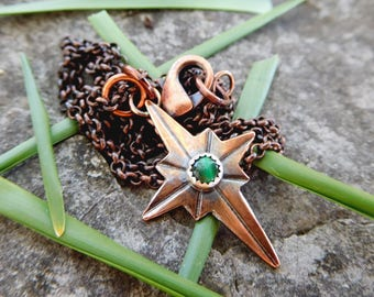 Mini North Star pendant | Copper necklace | artisan metalwork necklace | compass necklace | compass rose necklace | ocean star necklace