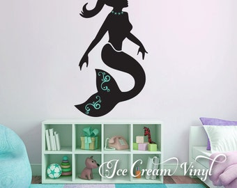 Mermaid Decal, Mermaid Wall Vinyl, Mermaid Sticker Decal, Mermaid Decor