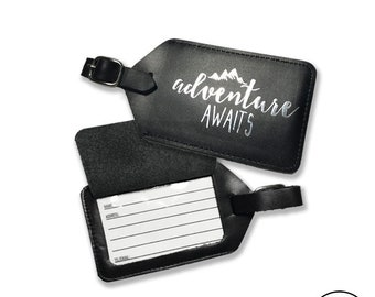 Adventure Awaits Leather Luggage Tag Chrome Foil Design - Fits Standard Business Cards,  Genuine Leather  with Strap Included - Single Tag