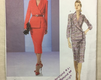 Vogue V2823, Misses' Jacket and Skirt, Double-breasted, Lined Jacket, Shawl Collar, Tapered Skirt, Vogue Couture, Sizes 14-16-18, Uncut