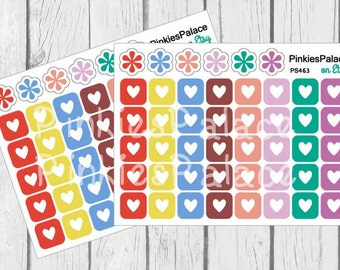 Square Heart Planner Stickers Set of 40 Stickers - PS463