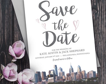 Save the Date with Philadelphia Skyline and hearts - Philly Save the Date Invitation - Formal Philadelphia Save the Date Invitation Card