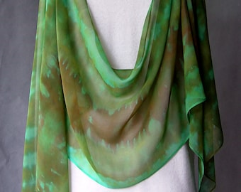 Large Hand Dyed Silk Chiffon Scarf - Sibori in Forest in Greens and Golds and Earth tones hand dyed Shibori gift idea soft and light unique