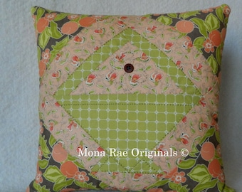 Basket Pillow ~ Thirteen Inch Square Peach and Green Pillow with Hand Quilted Flower ~ OOAK Pillow ~ Mothers Day Gift ~ Birthday Gift