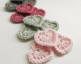 Crochet hearts applique, 0.8 inches gray, pink tiny appliques, 12 pc.