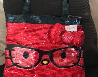 Red Hello Kitty glitter handbag