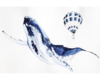 Whale illustration and poster