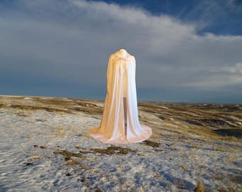 Cloak Cape Ivory Velvet Hooded Medieval Wedding Renaissance Costume Halloween Steampunk CosPlay Druid Faerie
