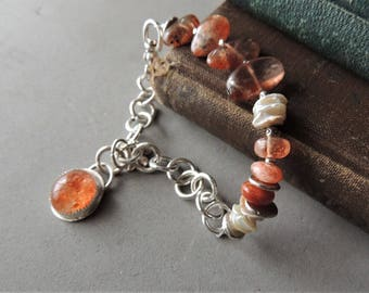 Artisan Silver Bracelet, Sunstone Bracelet, Handmade Sterling Silver Chain, Cornflake Pearls, Rustic Jewelry, Urban Chic, Handcrafted