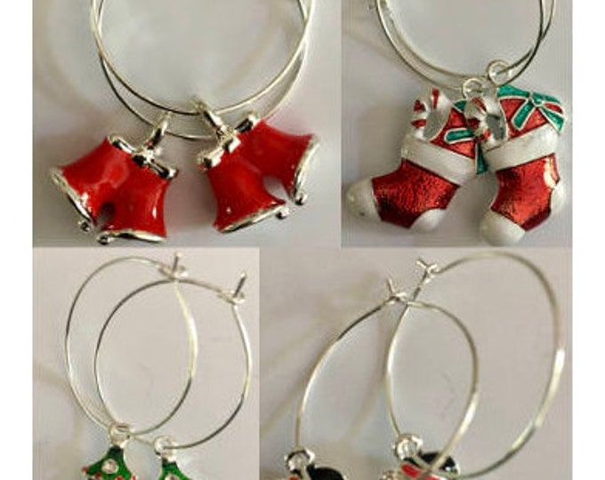 Featured listing image: Holiday and Christmas Themed Hoop Earrings!