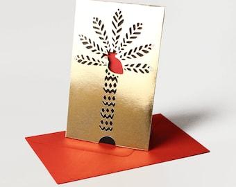 Carte St Valentin Or en papier découpé Coeur de Palmier /// Claire Colin