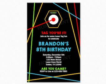 Laser Tag Birthday Party Invitation, Laser Tag Invitation, Blue, Red, Boy, Personalized, Printable or Printed